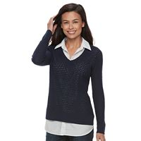 Croft & Barrow® Petite Openwork Sweater