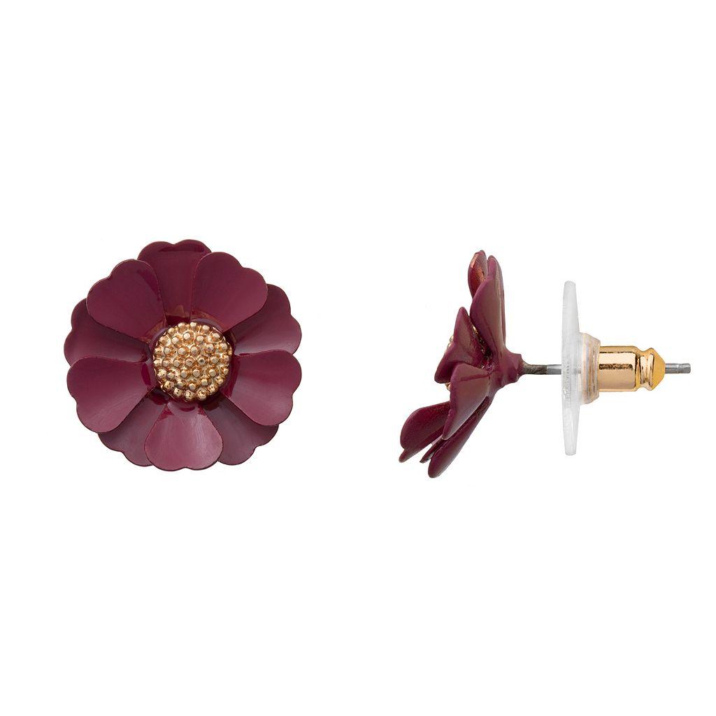 LC Lauren Conrad Red Flower Nickel Free Stud Earrings