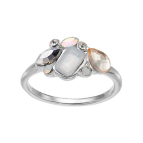 LC Lauren Conrad Metallic Faceted Geometric Cluster Ring
