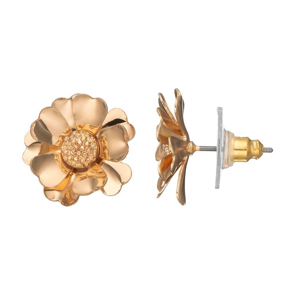 LC Lauren Conrad Gold Tone Flower Nickel Free Stud Earrings