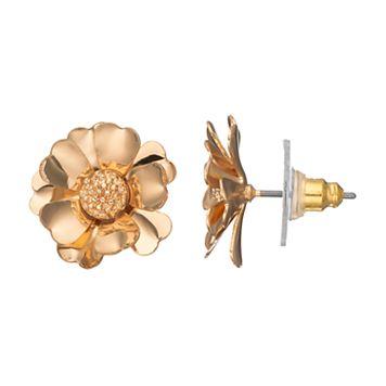 LC Lauren Conrad Gold Tone Flower Nickel Free Stud Earrings