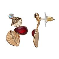 LC Lauren Conrad Double Textured Leaf Nickel Free Drop Earrings