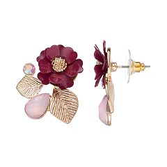 LC Lauren Conrad Red Flower Leaf Cluster Nickel Free Drop Earrings