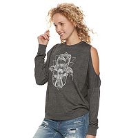 Juniors' About A Girl Hamsa Hand Cold-Shoulder Graphic Sweatshirt