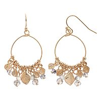 LC Lauren Conrad Shaky Bead & Leaf Nickel Free Drop Hoop Earrings