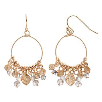 LC Lauren Conrad Shaky Bead & Leaf Nickel Free Drop Hoop Earrings