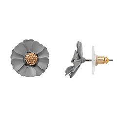LC Lauren Conrad Gray Flower Nickel Free Stud Earrings