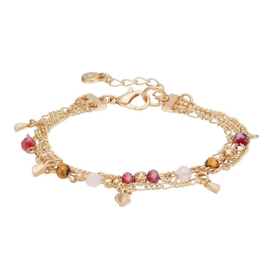 LC Lauren Conrad Beaded Leaf Charm Multi Strand Bracelet