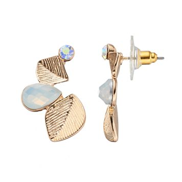 LC Lauren Conrad Textured Leaf Nickel Free Drop Earrings