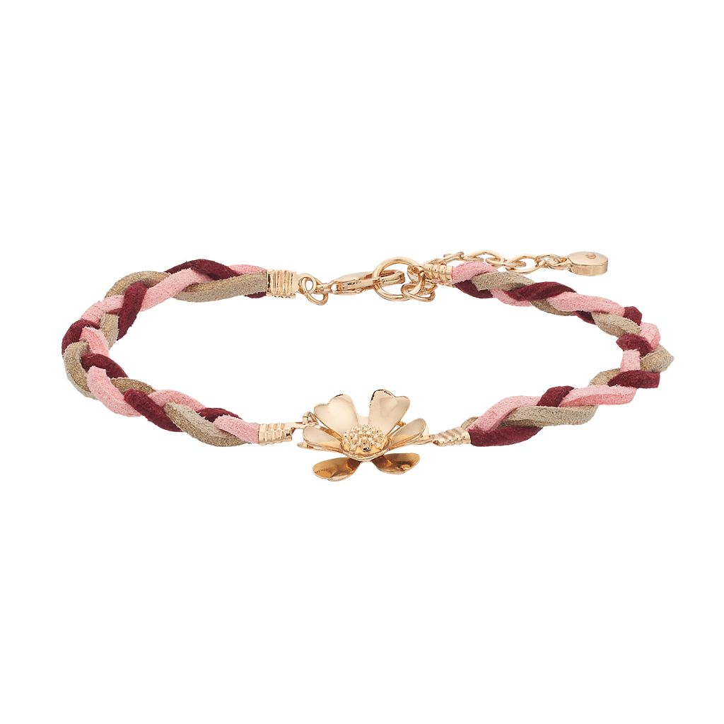 LC Lauren Conrad Red Braided Flower Bracelet