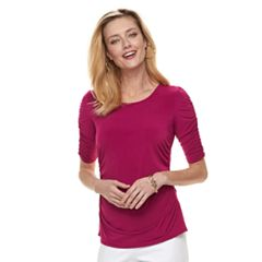 Women's Dana Buchman Shirred Elbow-Sleeve Top