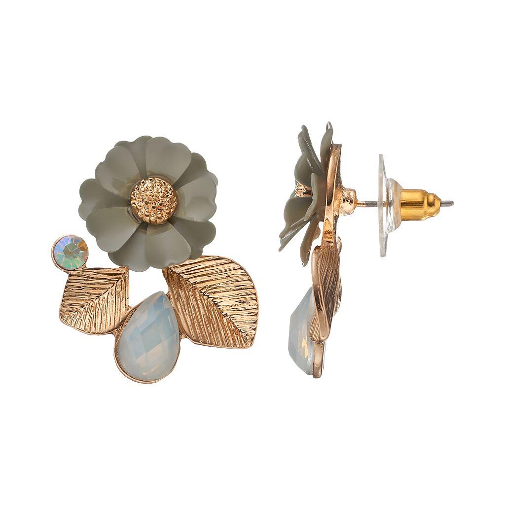 LC Lauren Conrad Gray Flower Leaf Cluster Nickel Free Drop Earrings