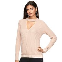 Women's Jennifer Lopez Ribbed Faux-Wrap Sweater