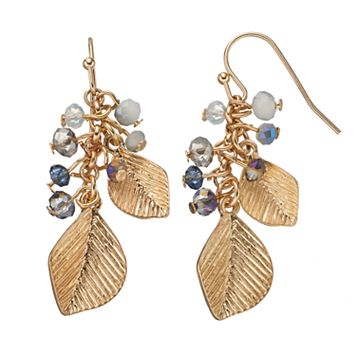 LC Lauren Conrad Beaded Cluster Leaf Nickel Free Drop Earrings
