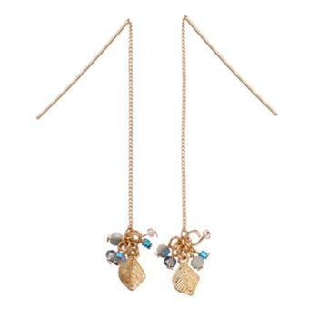 LC Lauren Conrad Beaded Cluster Leaf Nickel Free Threader Earrings