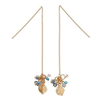 LC Lauren Conrad Beaded Cluster Leaf Nickel Free Threader Earrings