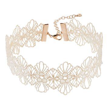 LC Lauren Conrad Floral Lace Choker Necklace