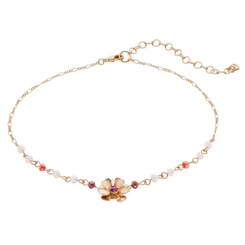 LC Lauren Conrad Red Beaded Flower Choker Necklace