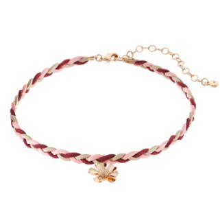 LC Lauren Conrad Red Flower Braided Faux Suede Choker Necklace