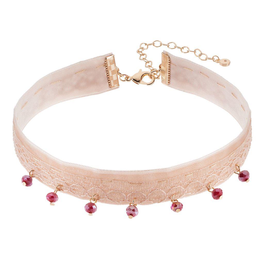 LC Lauren Conrad Red Shaky Bead Velvet Choker Necklace