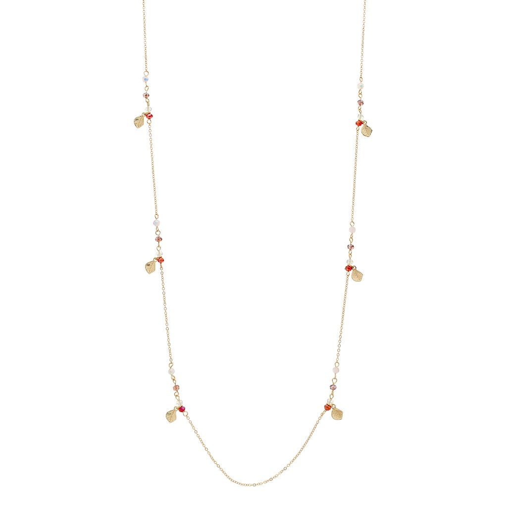 LC Lauren Conrad Long Red Beaded Leaf Charm Station Necklace