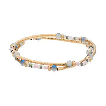 LC Lauren Conrad Beaded Twisted Tube Stretch Bracelet Set