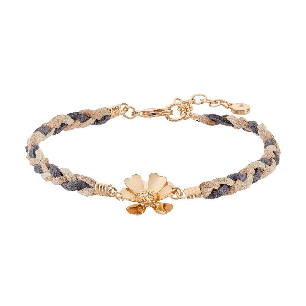 LC Lauren Conrad Gray Braided Flower Bracelet