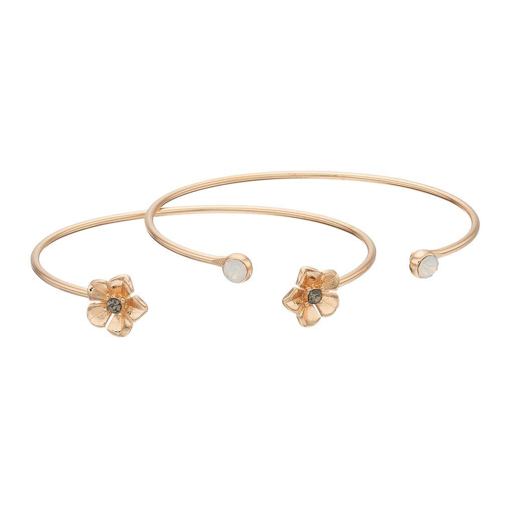 LC Lauren Conrad Flower & Simulated Crystal Cuff Bracelet Set