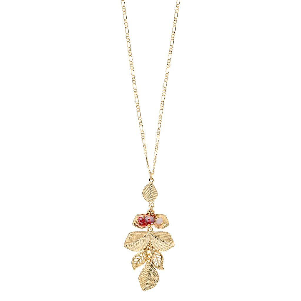 LC Lauren Conrad Long Red Beaded Leaf Cluster Pendant Necklace
