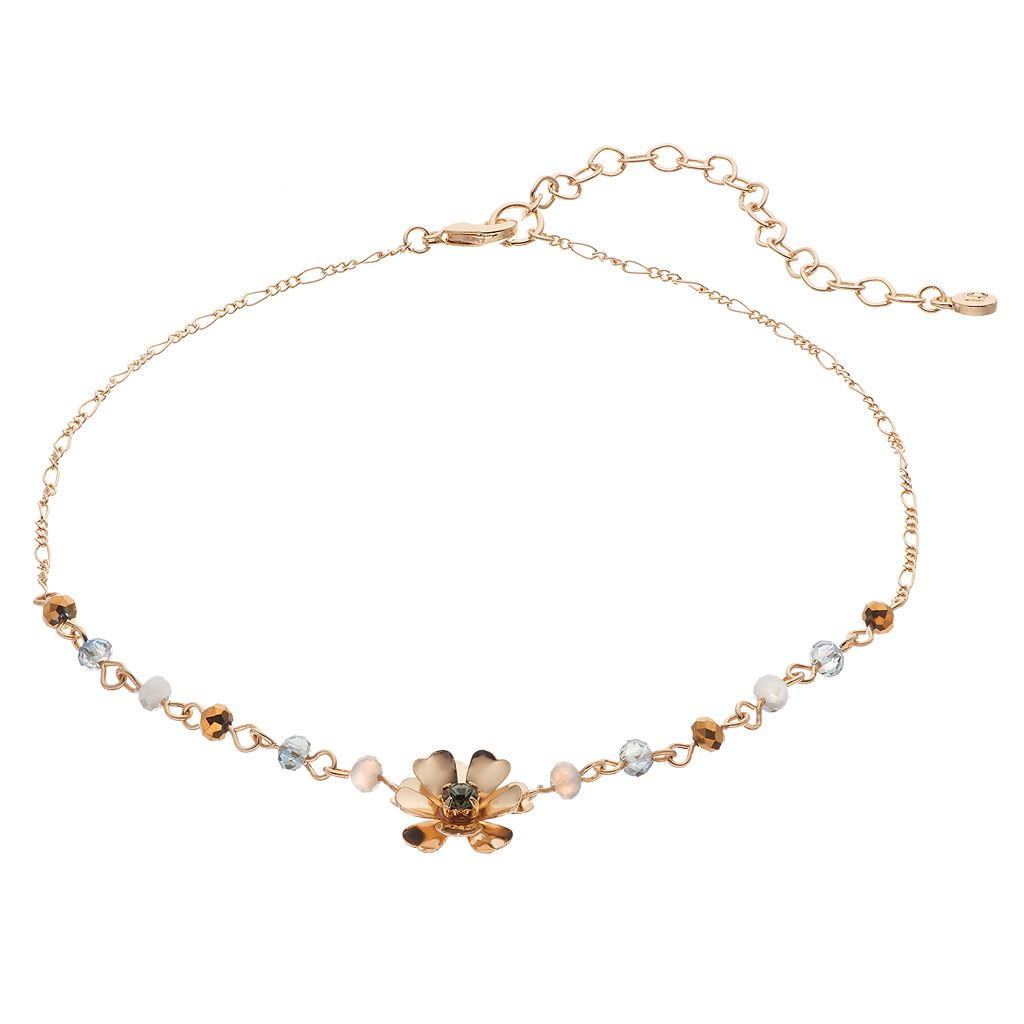 LC Lauren Conrad Gray Beaded Flower Choker Necklace