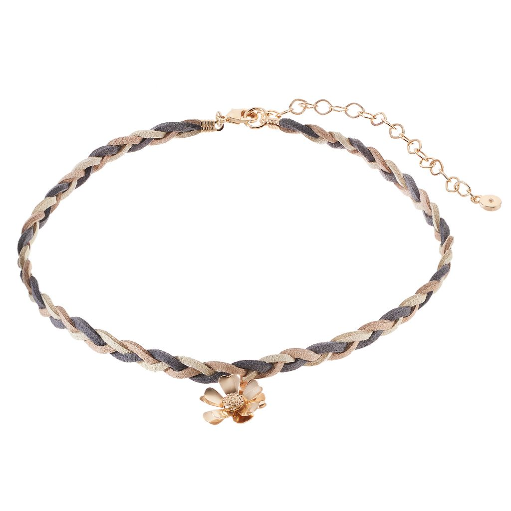 LC Lauren Conrad Gray Flower Braided Faux Suede Choker Necklace