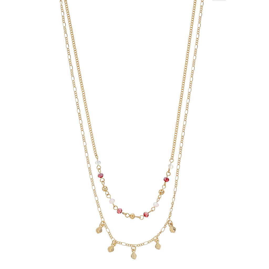 LC Lauren Conrad Beaded Leaf Charm Double Strand Necklace