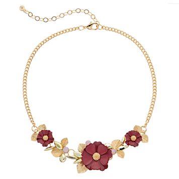 LC Lauren Conrad Red Flower Leaf Statement Necklace