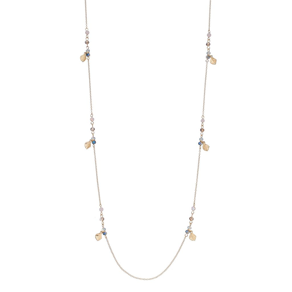 LC Lauren Conrad Long Beaded Leaf Charm Station Necklace