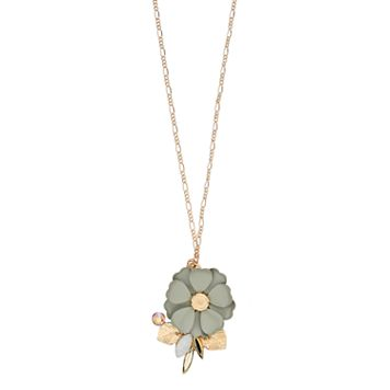 LC Lauren Conrad Long Gray Flower Necklace