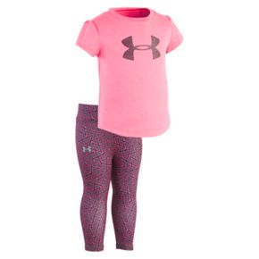 Toddler Girl Under Armour Chain Grid Big Logo Tee & Leggings Set