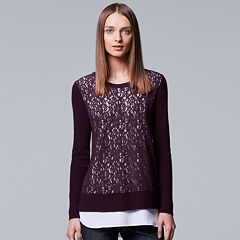 Women's Simply Vera Vera Wang Mock-Layer Lace Sweater