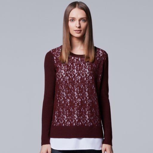 Women's Simply Vera Vera Wang Mock-Layer Lace Sweater