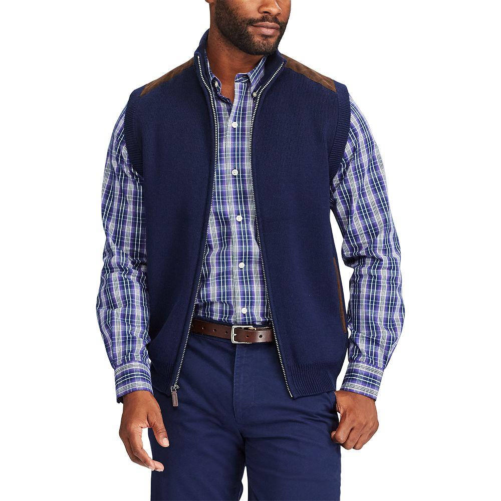 Chaps Classic-Fit Suede-Trim Sweater Vest