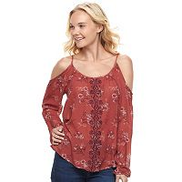 Juniors' Rewind Embroidered Cold Shoulder Top