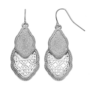 Glittery Quatrefoil Drop Earrings