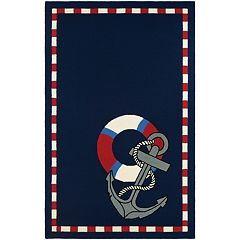 Couristan Outdoor Escape Anchors Away Framed Indoor Outdoor Rug