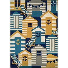 Couristan Outdoor Escape Beach Hut Indoor Outdoor Rug
