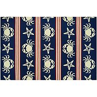 Couristan Outdoor Escape Blue Claws Striped Shell Indoor Outdoor Rug