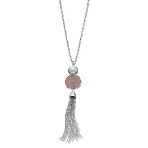 Pink Glittery Disc Tassel Pendant Necklace