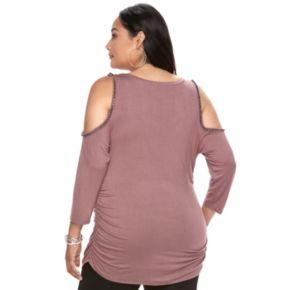 Plus Size Jennifer Lopez Embellished Cold-Shoulder Top