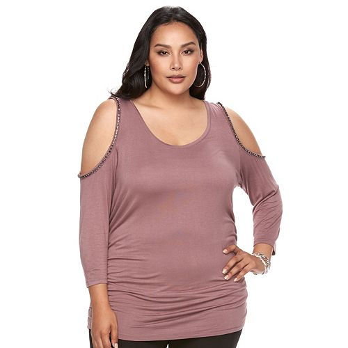 Plus Size Jennifer Lopez Embellished Cold-Shoulder Top