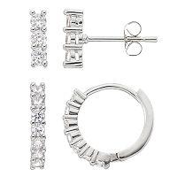 Fleur Silver Tone Cubic Zirconia Hoop & Stick Drop Earring Set
