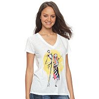Disney's Nightmare Before Christmas Junior's Jack & Sally Watercolor Tee