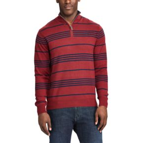 Men's Chaps Classic-Fit Striped Quarter-Zip Sweater